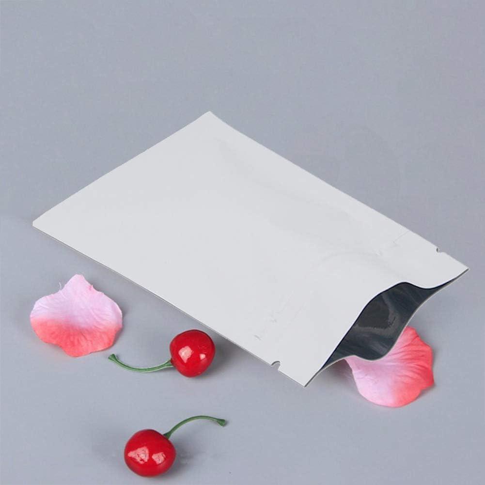100 piezas Bolsa de papel de aluminio Ziplock Bolsas con cierre de cremallera Mylar Bolsas de almacenamiento de alimentos reutilizables Bolsa con cierre herm/ético met/álica bolsa paranueces alimentos