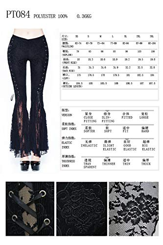 di Devil da donna da pizzo gotici a pantaloni sexy con lacci neri pantaloni zampa Pantaloni vintage Fashion donna rqgAwrv