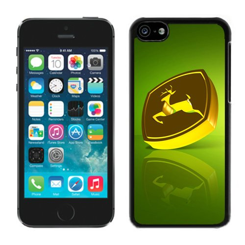 John Deere Logo 3 Black Shell Case for iPhone 5C,Luxury Cover (John Deere Phone Cases 5c)