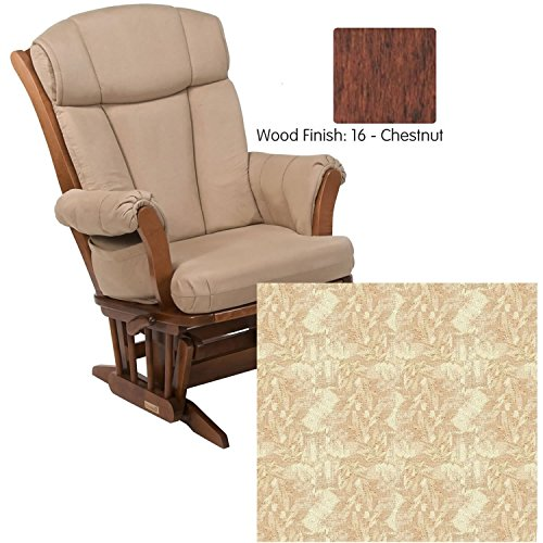 - Dutailier 908 Series Traditional Sleigh Maple Glider + Multiposition in Chestnut With Cushion 0424