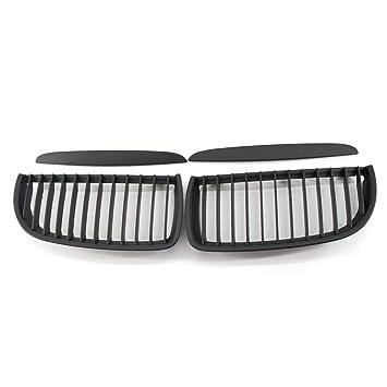 Qiilu 1 par de Rejillas frontales de radiador Parrillas de parachoques del coche para E90 05-08(negro mate)