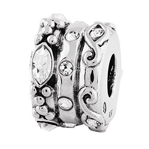 Sterling Silver Reflections Swarovski Elements Fancy Bali Bead ()