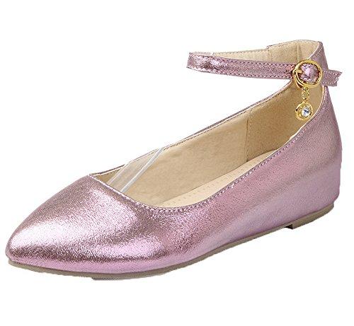 Amoonyfashion Damesmengsel Materialen Lage Hakken Gesp Puntige Pumps-schoenen Roze