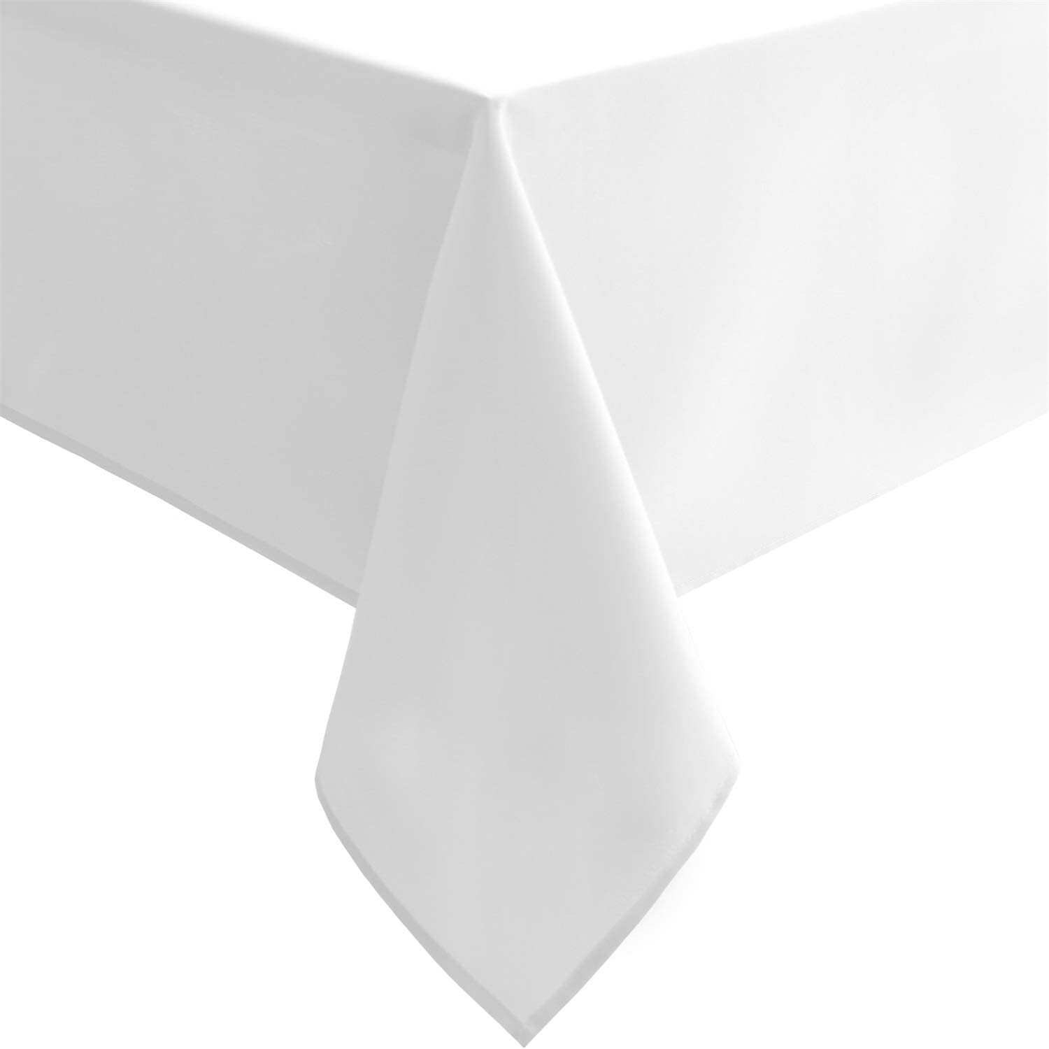 Hiasan White Tablecloth for Rectangle Tables - Waterproof and Spillproof Washable Fabric Table Cloth for Dining Room Kitchen Party, 60 x 120 Inch