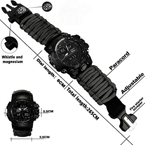 vikano Survival Bracelet Watch, Men & Women Emergency Survival Watch with Paracord/Whistle/Fire Starter/Scraper/Compass…