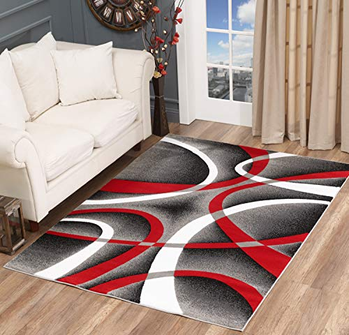 (Golden Rugs Modern Area Rug Swirls Carpet Bedroom Living Room Contemporary Dining Accent Sevilla Collection 4816 (4x6, Red))