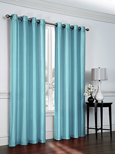 Regal Home Collections 2 Pack Semi Sheer Faux Silk Grommet Curtains - Assorted Colors (Curtain Collection)