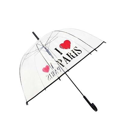 Paraguas campana transparente I Love Paris – smati