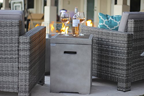 AKOYA Outdoor Essentials Modern Concrete Fire Pit Table 20lb LP Tank Cover Holder in Gray