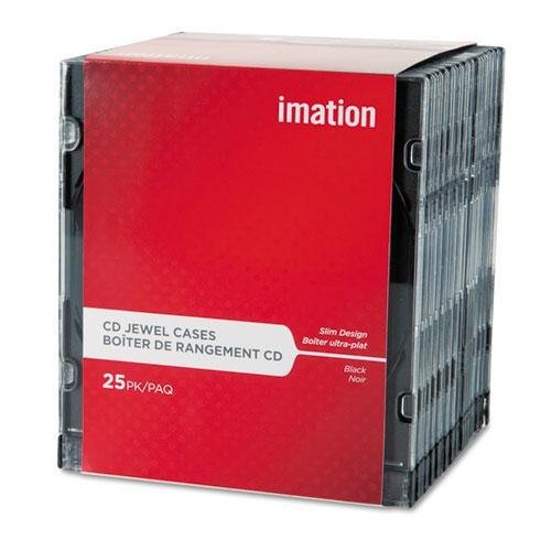 Imation 41017 CD/DVD Slim Line Jewel Case, Clear/Black, 25/Pack Dvd Slimline Jewel Case