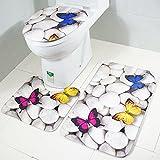 Makaor 3PC Bath Mat Rug Set Bathroom Non-Slip Floor Mat Ocean Style Pedestal Rug + Lid Toilet Cover + Bath Mat, BBB