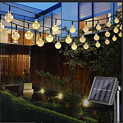 TuoPuLife Solar String Lights Outdoor, 25 Feet 40 LED Crystal Balls Waterproof Globe Solar Powered Fairy String Lights for Bedroom Garden Yard Home Patio Wedding Party Holiday Decoration (Warm White) - 【Solar Powered String Lights 】Featuring with high quality rechargeable solar powered battery that can absorb and convert sunshine to electric energy efficiently. Ecowho solar fairy lights create a warm and romantic fairy-tale world at dark night. 【Waterproof LED String Lights】The globe string lights are suitable for indoor & outdoor to withstand light rain or water spills; No need to worry of moisture or weather damage or short circuit by heat. 【String Lights Long-Lasting】Built-in 1000mAh rechargeable battery can work continuously 8-10 hours once fully charged. With bubble crystal ball designed, not only protect LED, but also have high lighting performance. - patio, outdoor-lights, outdoor-decor - 51%2Bjpc3zpwL. SS400  -