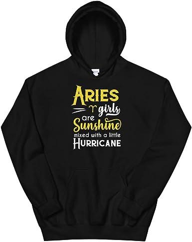 Aries Girls are Sunshine Mixed with A Little Hurricane Zodiac Unisex Sweatshirt