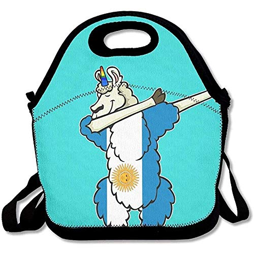 393 Mint (Dabbing Unicorn Argentina Flag Mint Green Lunch Bags Insulated Travel Picnic Lunchbox Tote Handbag with Shoulder Strap for Women Teens Girls Kids Adults)