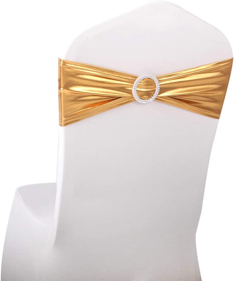 LOVWY 10 PCS Spandex Chair Bands Stretch Chair Sashes Bows for Wedding Party Engagement Event Birthday Graduation Meeting Banquet Decoration (10 PCS, Metallic Golden)