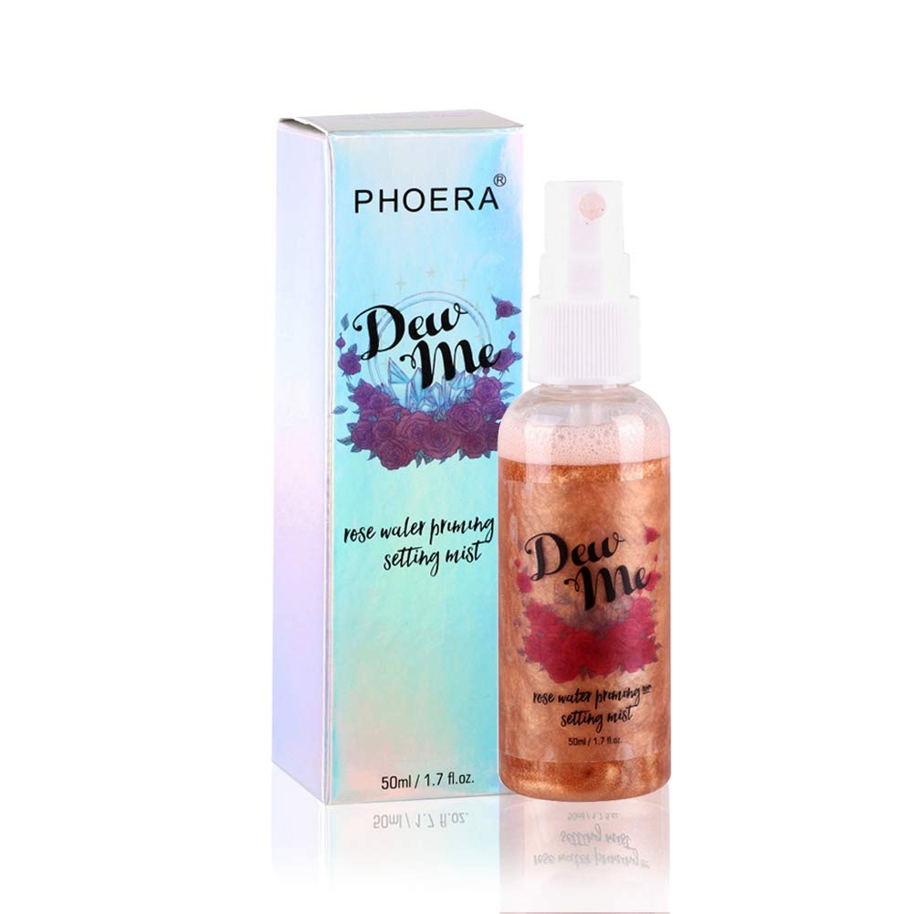 Spray éclairant la peau, Hydratant Fixateur de Maquillage Spray, Makeup Illuminating Setting Spray (Rose Gold) Cocohot