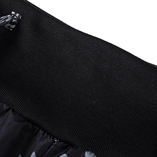 NINGSANJIN Taille Noir Haute Pantalon Causal Ceinture Harem avec Ceinture Femme Bouffant Fluide Button Decoration Stretch Elastique rWrqUH