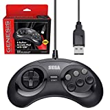 Retro-Bit Official Sega Genesis USB Controller 6-Button Arcade Pad for Sega Genesis Mini, PS3, PC, Mac, Steam, Nintendo Switch - USB Port (Black)