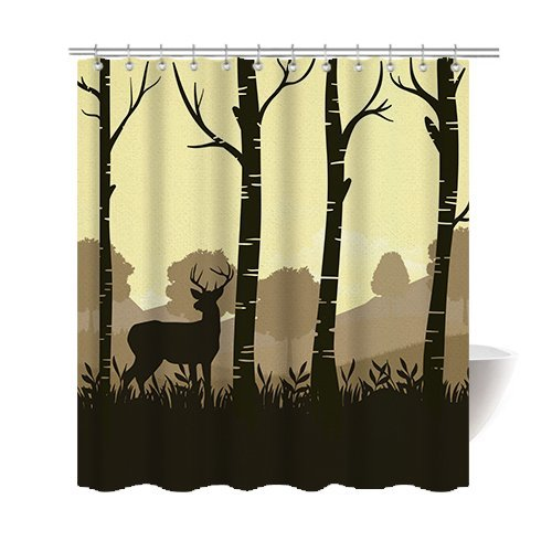 Deer Halloween Costume Mounted (Gwein Forest Art Deer Shower Curtain Polyester Fabric Mildew Proof Waterproof Cloth Shower Room Decor Shower Curtains)
