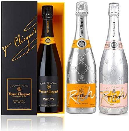 Veuve Clicquot trío de champagne extra-brut pack con estuche, Rich and Rich Rosé: Amazon.es: Alimentación y bebidas