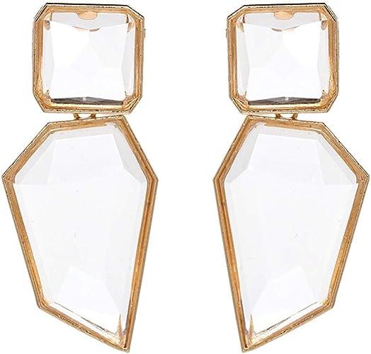 Sanvaree Statement Drop Earrings Gorgeous Colorful Crystal Gold Geometric-Shaped Dangle Earrings for Women Girls
