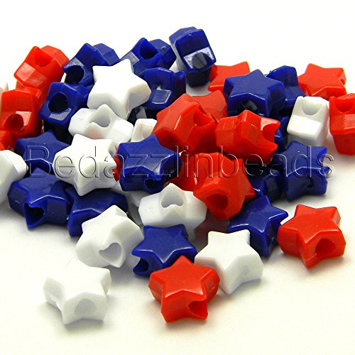 Lot of 300 Red, White and Blue 11mm Star Shaped Plastic USA Novelty Pony Beads]()