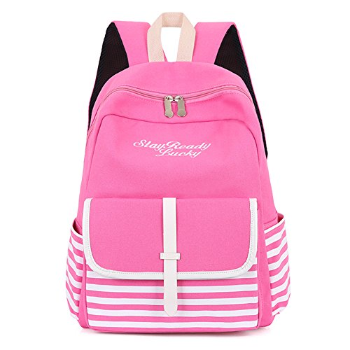 Catnew Fashion Teen Girl Backpack Striped Letters Embroidered School Bag Rucksack Shoulders Bag (Pink) (Striped Letter Pink)