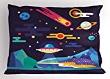 Ambesonne Space Pillow Sham by, Galaxy Cosmos Universe Themed Solar System Stardust Comet Ufo Planetary Illustration, Decorative Standard Queen Size Printed Pillowcase, 30 X 20 Inches, Multicolor