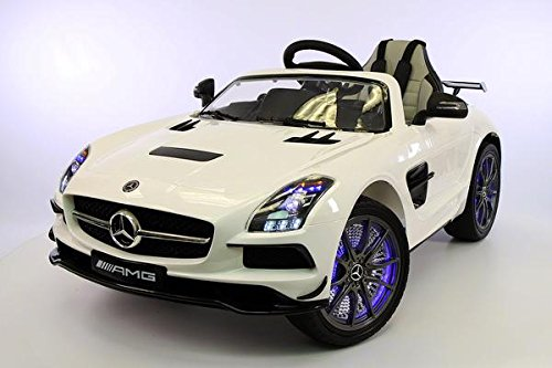 Great Features Of 2017 Mercedes SLS AMG 12V Power Ride on Toy with UV Lights, Leather Seat, Built in...