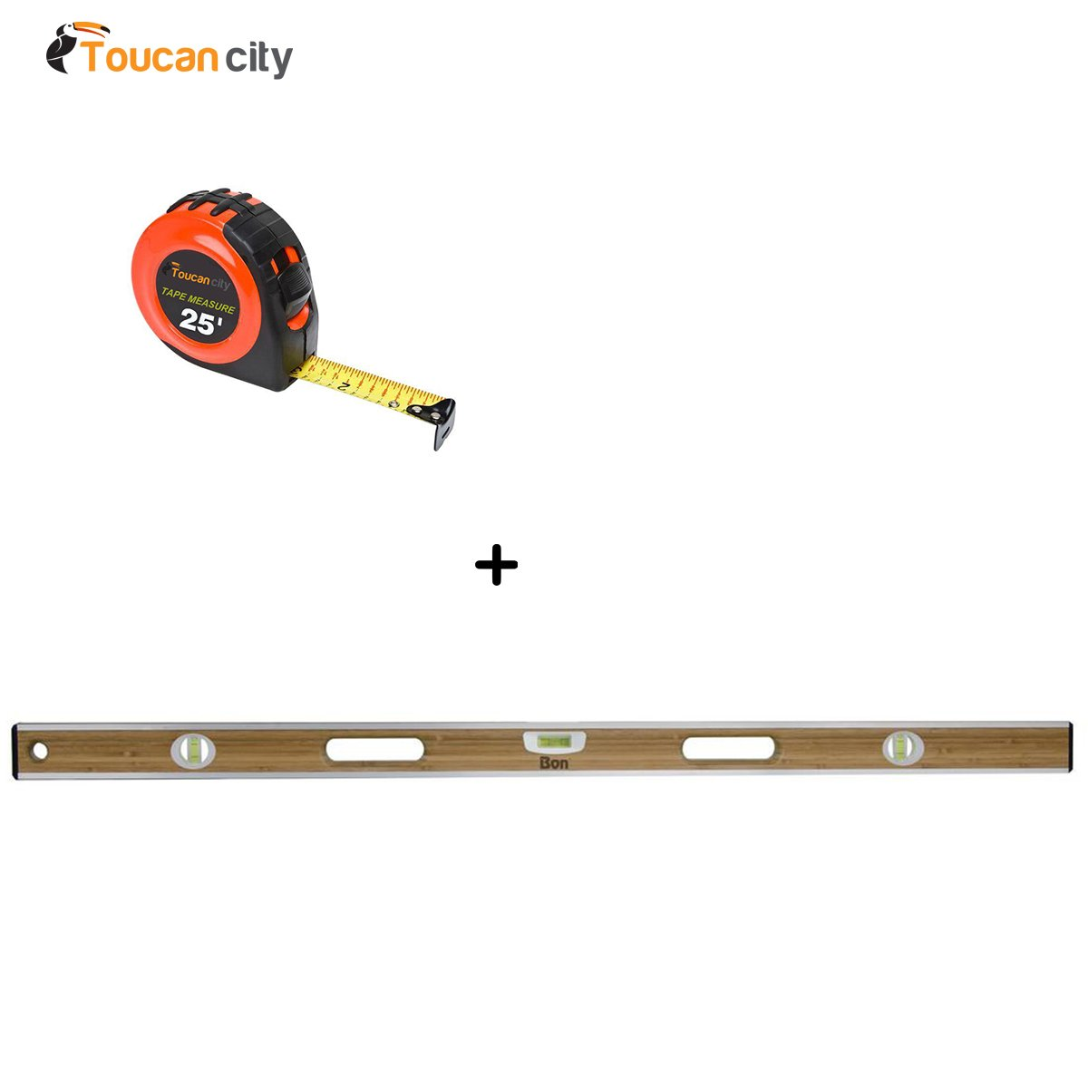 Bon 48 in. Aluminum Bound Laminated Bamboo Level 34-217 and Toucan City Tape measure