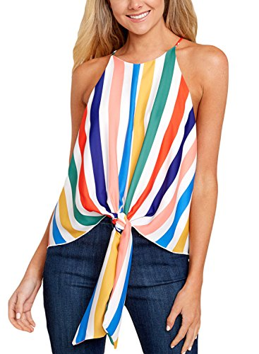 ROSKIKI Blouses for Women Fashion 2018 Sexy Summer Tie Front Striped Cami Tank Tops Halter Spaghetti Strap Sleeveless Casual Ladies Shirts Multicoloured M