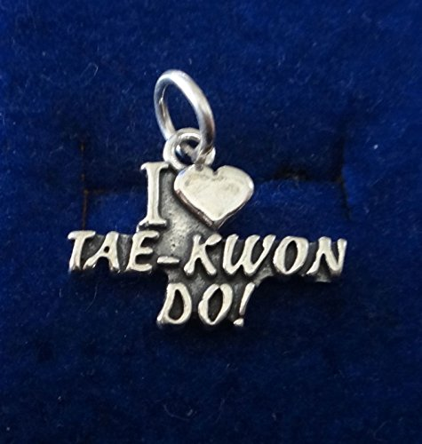 Sterling Silver 15x15mm Martial Arts I Love Tae Kwon Do Charm Jewelry Making Supply, Pendant, Sterling Charm, Bracelet, Beads, DIY Crafting and Other by Wholesale Charms