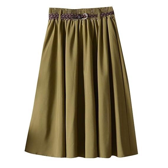 Sylar Faldas Plisadas Mujer Midi Color Sólido Falda De Verano para ...