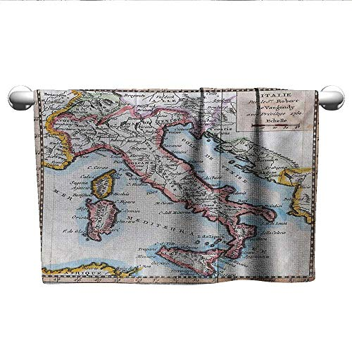 alisoso Wanderlust,Yoga Towels Colored XVIIIth Century Italy Map by Royal French Geographer Vaugondy Print Dry Fast Towel Multicolor W 10