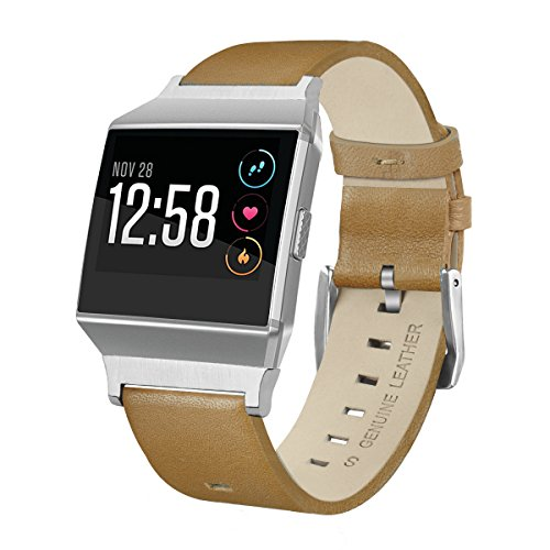 Price comparison product image For Fitbit Ionic Band,  AISPORTS Fitbit Ionic Band Leather Band Smart Watch Adjustable Replacement Band Wristband with Classic Bracelet Buckle Clasp for Fitbit Ionic Fitness Accessories - Matte Brown