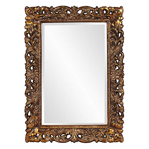 Howard Elliott Barcelona Hanging Rectangular Wall Mirror, Antique Gold Resin, 23 x -