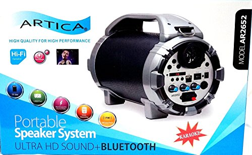 ARTICA AR2652 Portable Wireless Bluetooth Speaker FM Radio MP3 Player Recharging Battery, Micro TF SD Card, USB Input, AUX Line-in, Powerful Audio Driver Voice Recording Karaoke - Blue/Black (Black)