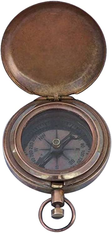 2 Hampton Nautical  CO-0903-CH Chrome Ship Scouts Push Button Compass