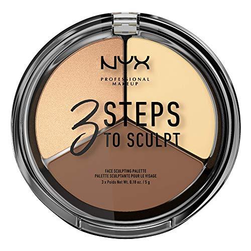 NYX PROFESSIONAL MAKEUP 3 Steps to Sculpt Face Sculpting Palette, Light