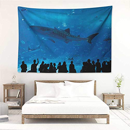 alisos Shark,Wall Decor Tapestry Japanese Aquarium Park with People Silhouettes Watching Underwater Life Hobby Image 60W x 51L inch Tapestry Wallpaper Home Decor Blue Black ()