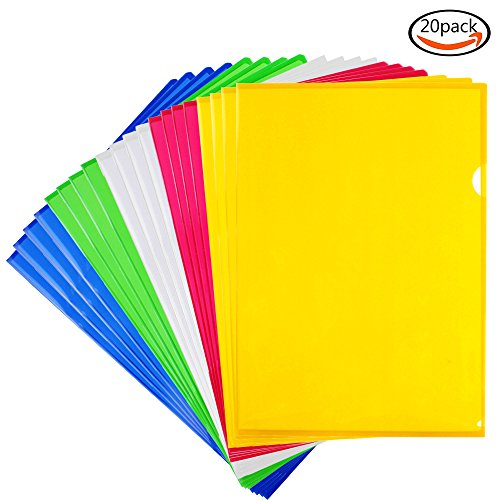Project Folder Letter (LoveS Clear document Folder Project Pockets, Letter Size, Set of 20 in 5 assorted Colors)