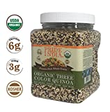 Pride Of India Organic Three Color Quinoa - Protein Rich Whole Grain, 1.5 Pound (24oz) Jar
