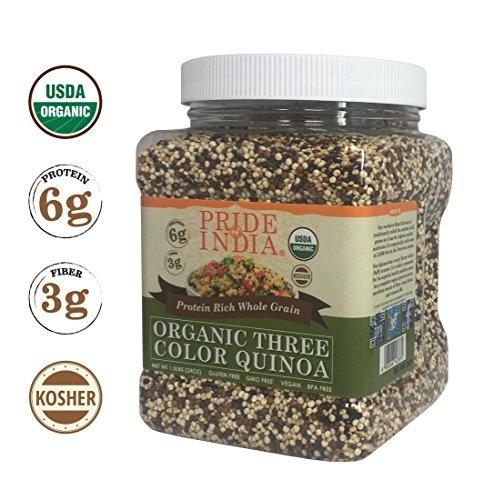 Pride Of India Organic Three Color Quinoa   Protein Rich Whole Grain  1 5 Pound  24Oz  Jar