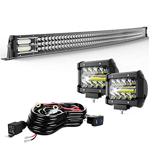 TURBOSII Led Light Bar 20/22Inch 306W Curved Triple Row Offroad Led Bar Waterproof 30600LM Spot Flood Combo + 2Pc 4Inch Led Pods Fog Lights + Wiring For Jeep Truck SUV Atv Rzr Polaris Golf Cart Utv