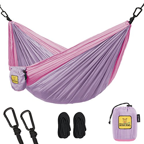 Baby Nest Sling (Kids Hammock for Camping - Wise Owl Outfitters Owlet Kid & Gear Sling Hammocks - Best Quality For The Outdoors Backpacking Travel or Fun! Portable Lightweight Parachute Nylon Hammock Lavender & Pink)