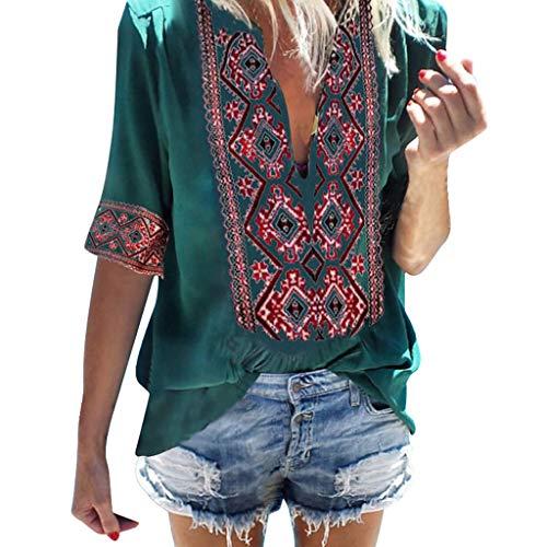 POQOQ Tunic Women Ethnic Style Bohe Half Sleeve V-Ncek Vintage Top T-Shirt -