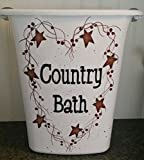 Primitive Country Decor Hand Painted Bathroom Trash Can Country Bath Rusty Tin Stars Pip Berry Vine Made in USA