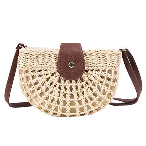 CCFAMILY Women Shoulder Small Bag Summer Straw Bag Handbags Wild Semi-circular Bag