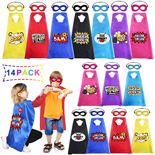 Newoer Superhero Capes and Masks Stickers for Kids Bulk Pack 14 Set, Superheros Themed Birthday Party Halloween DIY Dress Up, Children Cartoon Heros