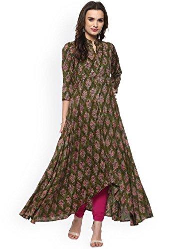 Rêve Ange Femmes Mode Robe Concepteur Kurti Imprimé Kurta Prêt À Porter Rayonne Viscose Vert-rose
